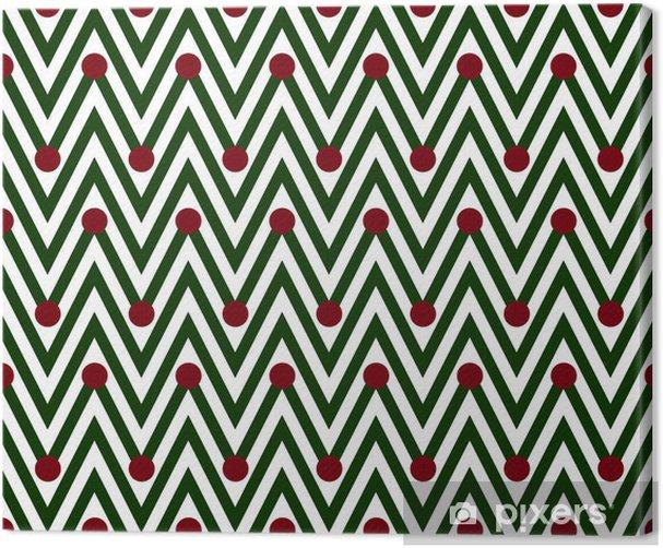 Canvas Groene en Witte Horizontale Chevron Striped met Stippen Backg - Achtergrond