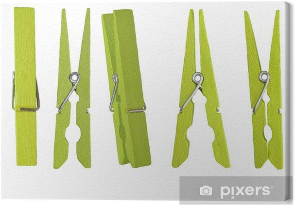 Canvas Groene houten wasknijper op een witte achtergrond - Verkoop