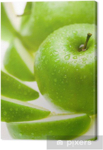 Canvas Groene natte appel met plakjes op witte achtergrond - Maaltijden