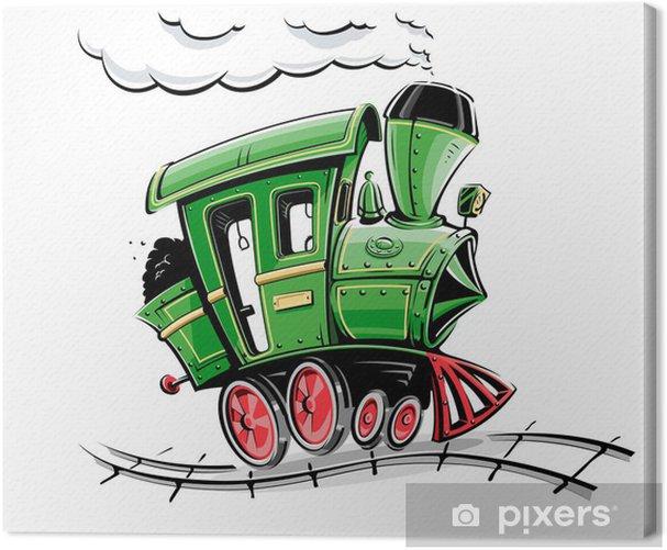 Canvas Groene retro cartoon locomotief vector illustratie geïsoleerd op - Onderweg