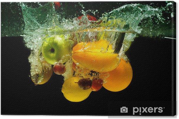 Canvas Groenten en fruit splash in het water - Bestemmingen