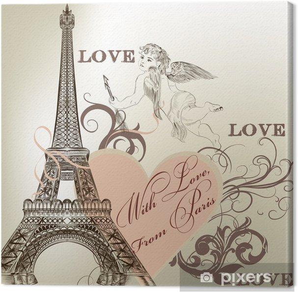 Canvas Groet Valentijn kaart met gedetailleerde vector Eiffeltoren -