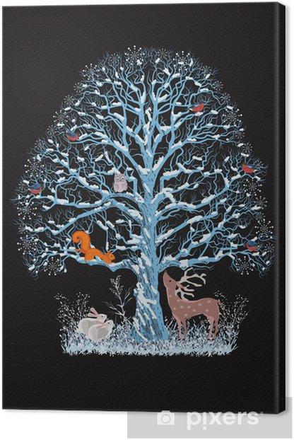 Canvas Grote blauwe boom met verschillende dieren op een zwarte achtergrond - Internationale Vieringen
