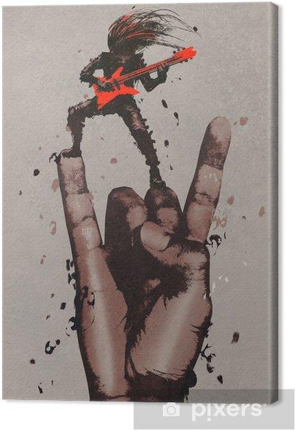 Canvas Grote hand in de rock n roll tekenen met gitarist, illustratie painting - Hobby's en Vrije tijd
