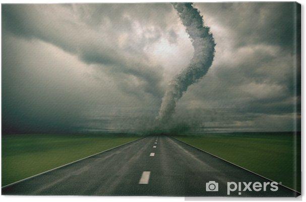 Canvas Grote tornado over de weg (3D rendring) - Thema's