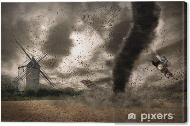 Canvas Grote tornado over een windmolen - Natuurrampen