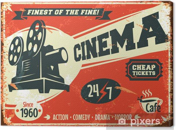 Canvas Grunge retro bioscoop poster. Vector illustratie. - Thema's