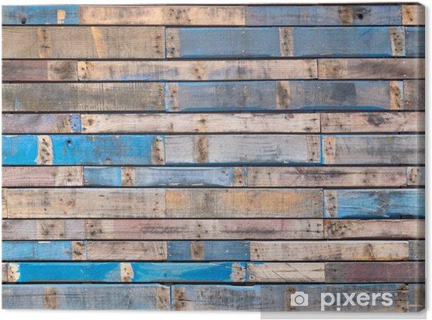 Canvas Grungy blauwe geschilderde houten planken van de buitenbeplating - Thema's