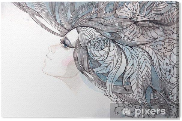 Canvas Haar haren versierd met loof - Mode