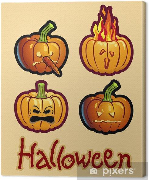 Halloween Tekeningen Pompoen.Canvas Halloween Tekening Vier Pompoen Hoofden Van Jack O Lantern