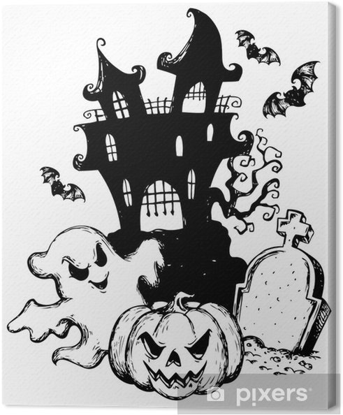 Halloween Thema.Canvas Halloween Thema Tekening 1
