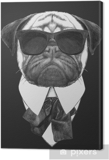 Canvas Hand drawn fashion Illustration of Pug Dog with sunglasses. Vector isolated elements. - Mopshonden
