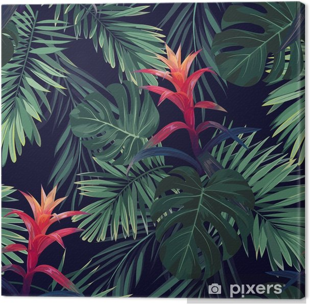 Canvas Hand getrokken naadloze bloemmotief met guzmania bloemen, monstera en koninklijke palmbladeren. exotische Hawaiiaanse vector achtergrond. - Bloemen en Planten