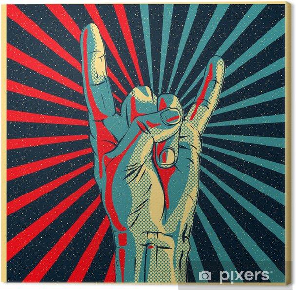 Canvas Hand in rock n roll teken, vectoreps10 illustratie. - Rock