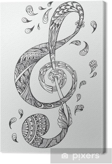 Canvas Handgetekende muziek sleutel met etnische ornamenten doodle patroon. Vector illustratie Henna Mandala Zentangle stylized voor cover van het boek of kaart, tattoo meer. Ontwerp voor geestelijke ontspanning voor volwassenen. - Grafische Bronnen