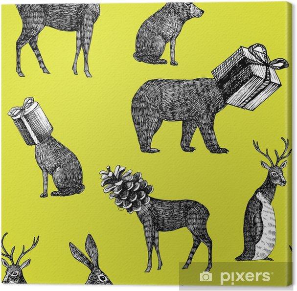 Canvas Handgetekende winter dieren naadloze achtergrond - Dieren