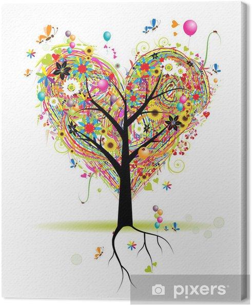 Canvas Happy vakantie, hart vorm structuur met ballonnen - Muursticker