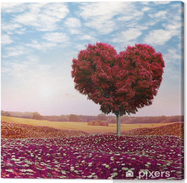 Canvas Hartvormige Boom rode bladeren, Valentijnsdag - Thema's