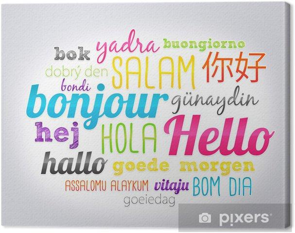 Canvas Hello in alle talen - Vakantie