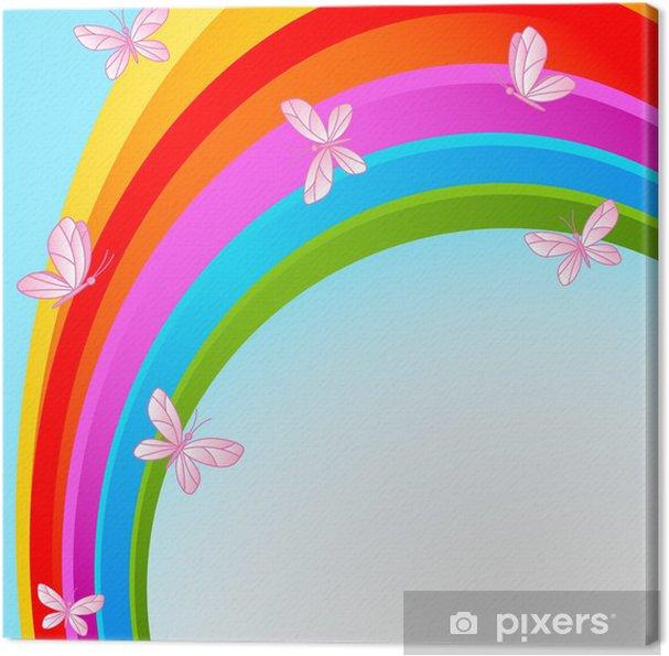 Canvas Hemel regenboog met vlinder - Regenbogen