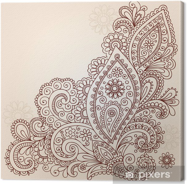 Canvas Henna Mehndi Paisley bloem Doodle Vector Design - Thema's