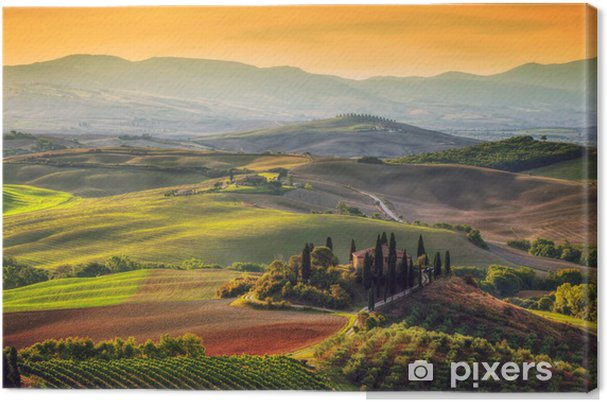Canvas Het landschap van Toscane bij zonsopgang - Europa