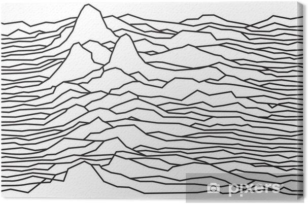 Canvas Het ritme van de golven, de pulsar, vector lijnen ontwerp, gebroken lijnen, bergen - Grafische Bronnen
