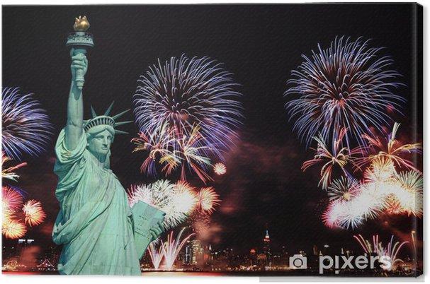 Canvas Het Vrijheidsbeeld en 4 juli vuurwerk - Vakantie