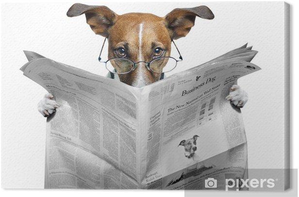Canvas Hond lezen van een krant - Thema's
