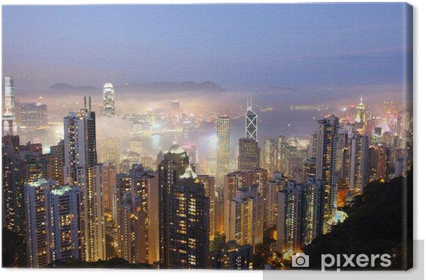 Canvas Hong Kong op mistige avond. Uitzicht vanaf The Peak - Aziatische steden