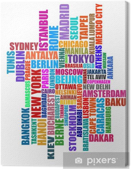 Canvas Hoofdsteden typografische illustratie -