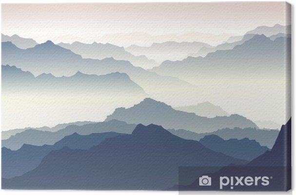 Canvas Horizontaal illustratie van de schemering in de bergen. - Herfst