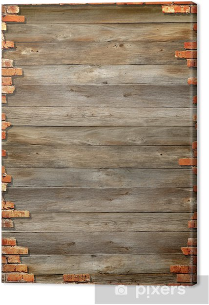 Houten Planken Op De Muur.Canvas Houten Planken Als Achtergrond Met Bakstenen Muur Inlijsten