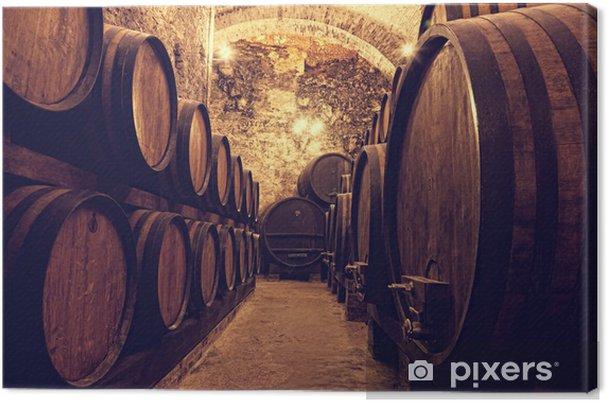 Canvas Houten vaten met wijn in een wijnkelder, Italië - Thema's