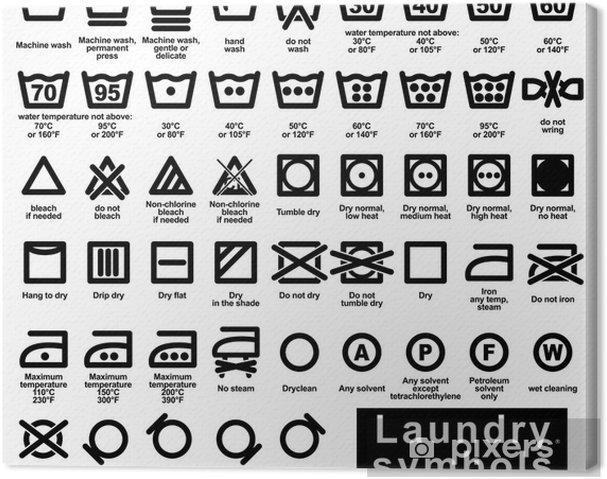 Canvas Icon set van wasserij symbolen - Tekens en Symbolen