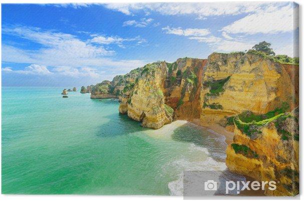Canvas Idyllisch strand landschap op Lagos, Algarve, (Portugal) - Europa