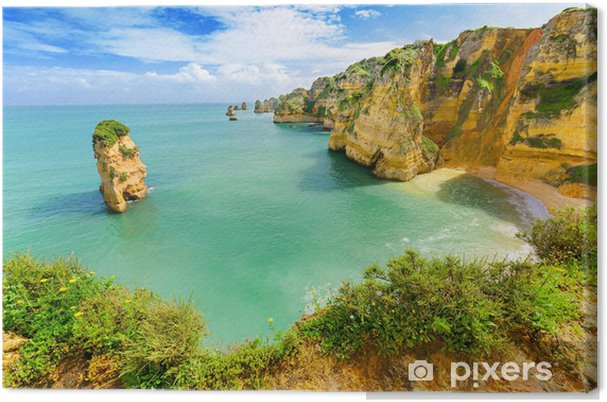 Canvas Idyllisch strand landschap op Lagos, Algarve, (Portugal) - Thema's