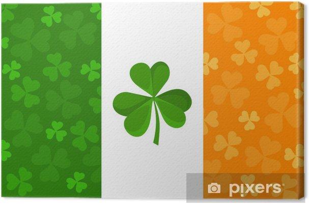 canvas ierse vlag met klaver patroon. vector illustratie. • pixers