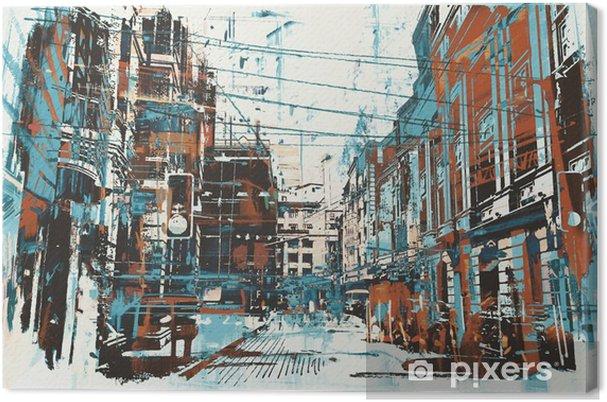 Canvas Illustratie schilderij van stedelijke straat met grunge textuur - Hobby's en Vrije tijd
