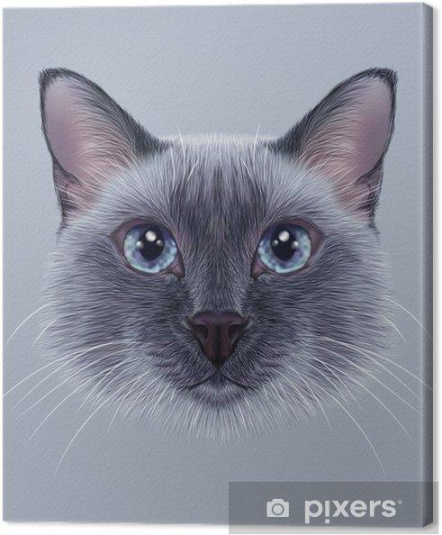 Canvas Illustratief Portret van een Thaise Cat. Leuke blauwe punt Traditionele Siamese Cat. - Dieren