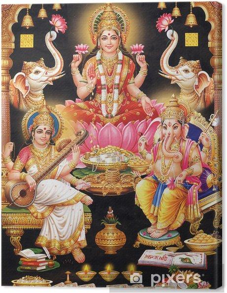 Canvas INDIAN godin MAA LAKSHMI MET MAA SARASWATI Ganesh JI - Openbare Gebouwen