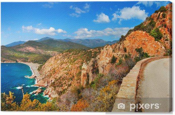 Canvas Indrukwekkende landschappen van Corsica - rode rotsen Calanques en de zee - Thema's