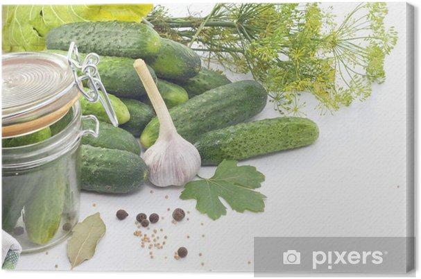 Canvas Ingelegde komkommers met dille knoflook en kruiden - Thema's