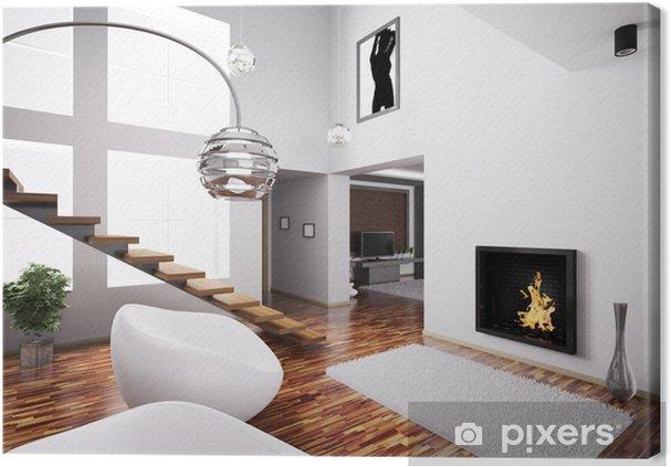 Canvas interieur met open haard en trap 3d u2022 pixers® we leven om