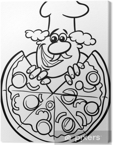 Kleurplaten Van Italie.Canvas Italiaanse Pizza Cartoon Kleurplaat