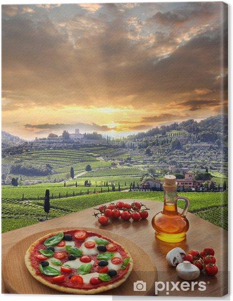 Canvas Italiaanse pizza in Chianti, Toscane landschap, Italië - Thema's