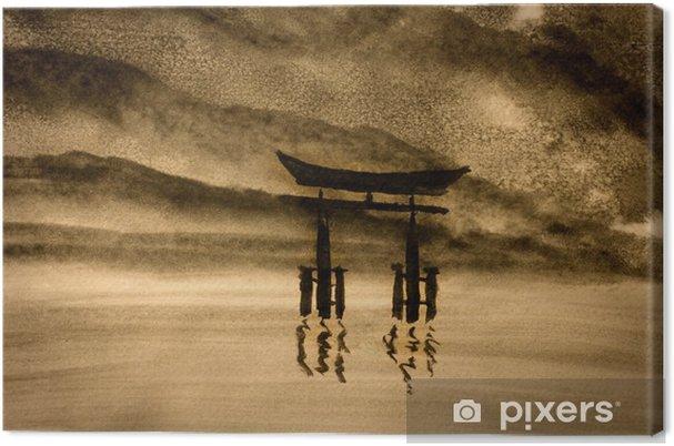 Canvas Japanse poort in water - Hobby's en Vrije tijd