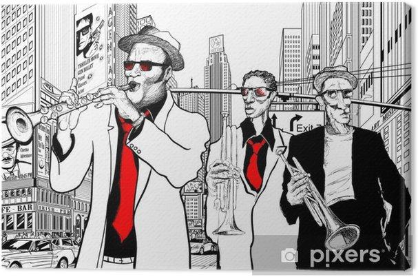 Canvas Jazz band in een straat van nieuw-York - jazz