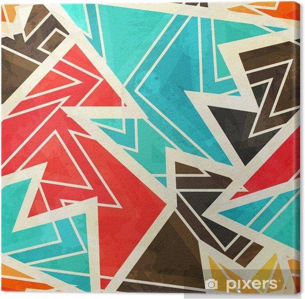 Canvas Jeugd geometrische naadloze patroon met grunge effect - Grafische Bronnen