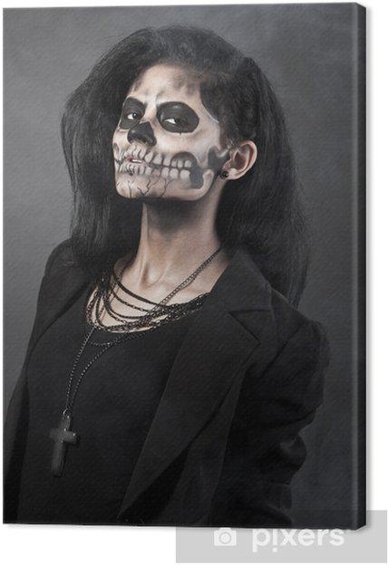 Dag Halloween.Canvas Jonge Vrouw In Dag Van Het Dode Masker Schedel Halloween Gezicht Kunst